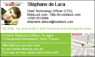 Stéphane de Luca CTO business card at MobiLuck.com